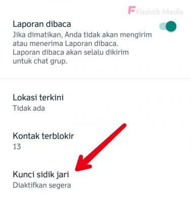 Aktifkan kunci sidik jari whatsapp android
